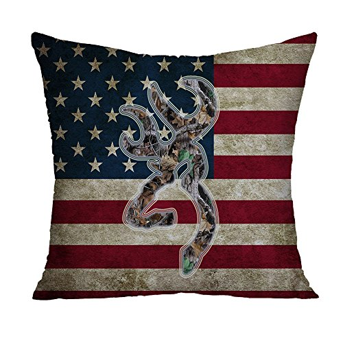 Browning Camo USA America Flag Decorative Polyester Square Throw Pillow Case Cushion Cover Throw Pillow Shell Pillowcase 18 x 18 Inch