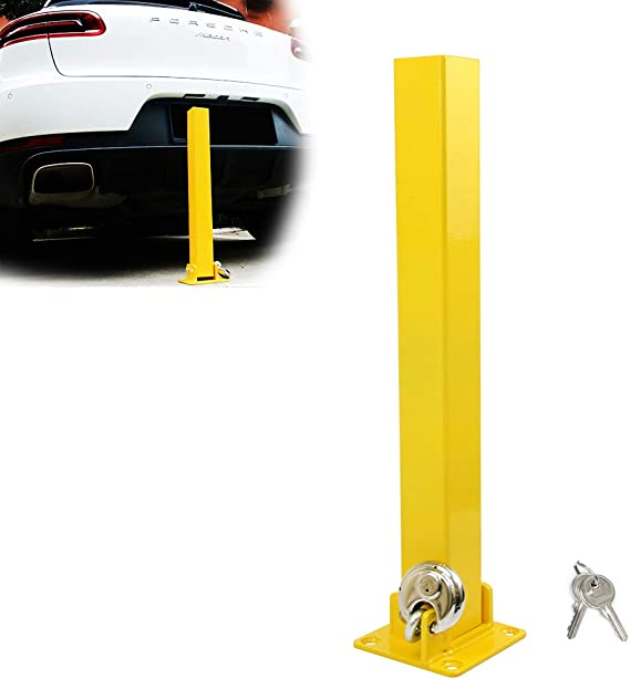 MP Essentials Home Driveways Square Folding Fold Down Security Parking Post With Lock /& Bolts