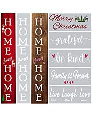 Vertical Home Sweet Home Stencils for Signs - Large Letter Stencils for Painting on Wood Reusable - Home Sweet Home Stencil Set includes Farmhouse Stencils for Wood Signs, Canvas and Front Porch Decor