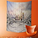 SeptSonne Home Decor Tapestry by Modern City Skyline Traffic and Cityscape in Shanghai China Cloudscape Commercial Wall Hanging for Bedroom Living Room Dorm 51W x 60L INCH