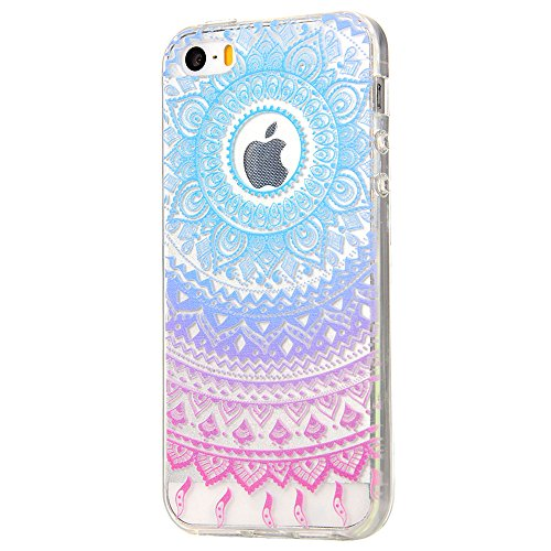 iPhone 5 Case,iPhone 5S Case, JAHOLAN Beautiful Clear TPU Soft Case Rubber Silicone Skin Cover for iPhone 5/5S/SE - Blue Purple Tribal Mandala