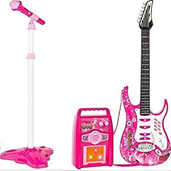 abaa2959a iMeshbean Boys and Girls Electric Guitar Set MP3 Player Learning Toys  Microphone, Amp Blue&Pink (Pink)