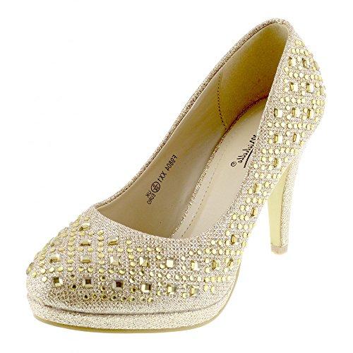 Kick Schuhe Damen Klassische Gericht Glitzernd Party Hochzeit High Heels Schuhe Gold