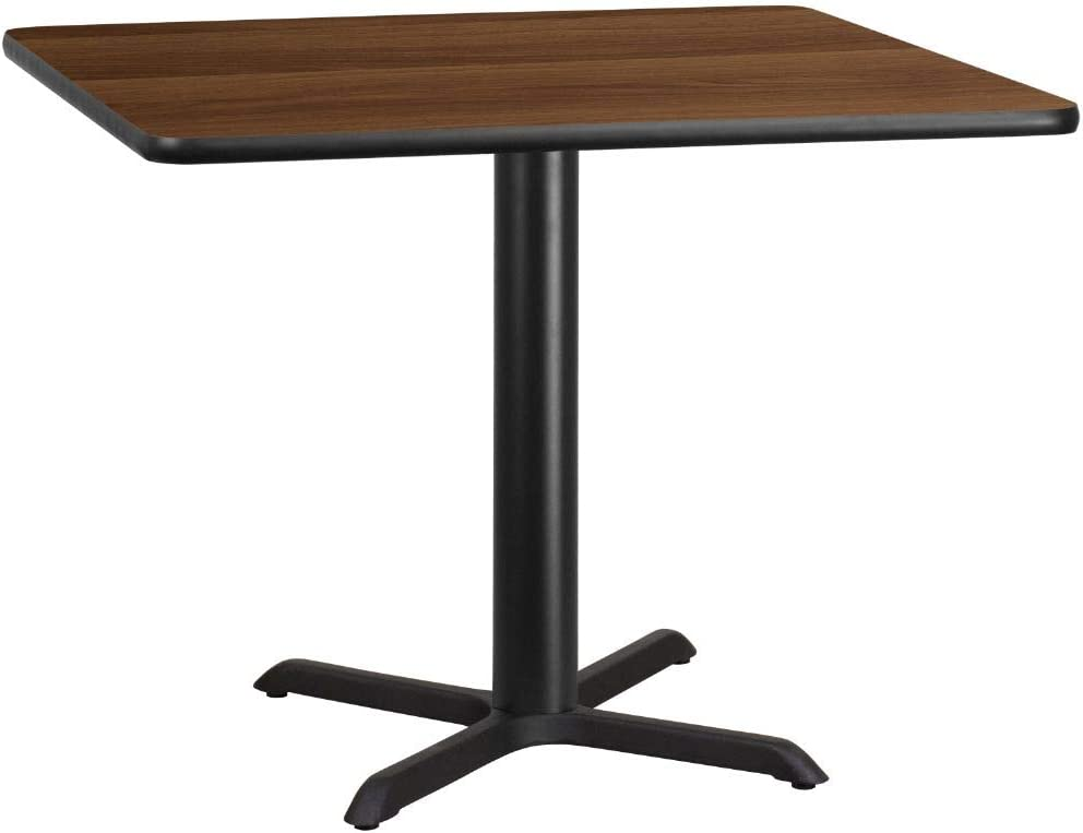 Flash Furniture 42'' Square Walnut Laminate Table Top with 33'' x 33'' Table Height Base