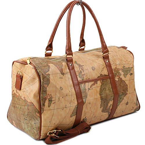 Copi World Map Large Duffle Bag Travel Tote Luggage Boston Style ()