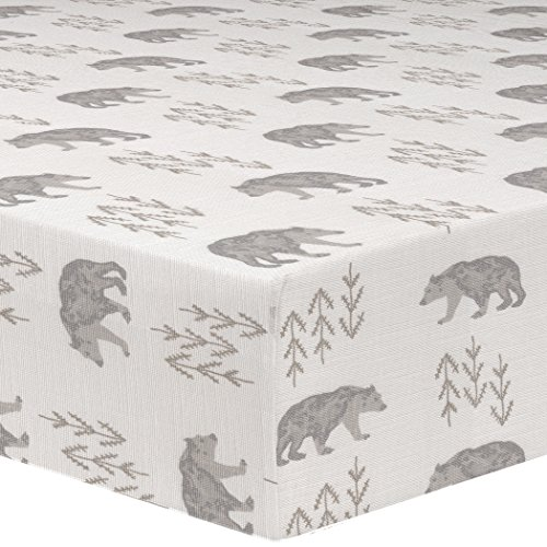 (Liz and Roo Cubby Crib Sheet, Gray/Taupe)