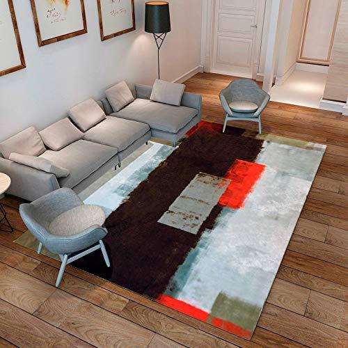 ilios innova Tapete Sala Oficina Estilo Nórdico Arte Abstracto Color Rojo 160x200 Calidad y suavidad