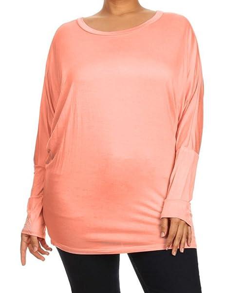 824ccf064cff Sale Women Plus Size Dolman Long Sleeve Top Scoop Neck Loose Blouse ...