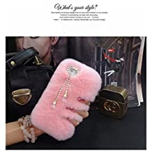 iPhone 4/4s Case - LU2000 Beaver Rabbit Furry Case With Double [Pendant Series] Tassels Luxury Fur Fluffy Handmade Phone Cover Bling Pearl Crystals Diamond Trimming - Pink