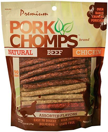 (Premium Pork Chomps Munchy Sticks Assorted Natural, Beef & Chicken 50ct)