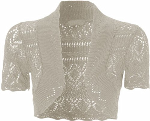Xclusive Plus New Womens Plus Size Crochet Knit Fish Net Bolero Shrugs Tops 8-20 (Grey, M)