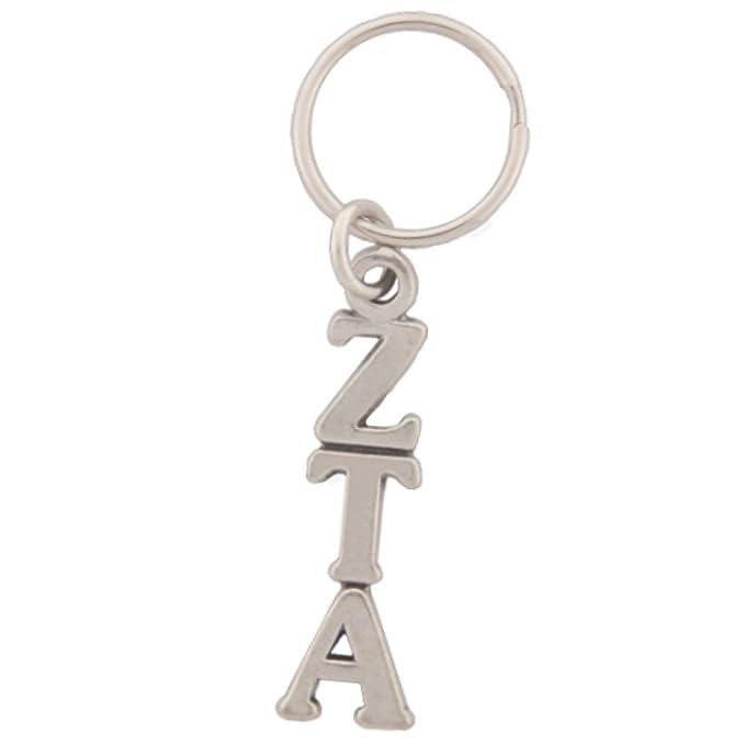 Amazon Zeta Tau Alpha Keychain Pewter Greek Letters Clothing