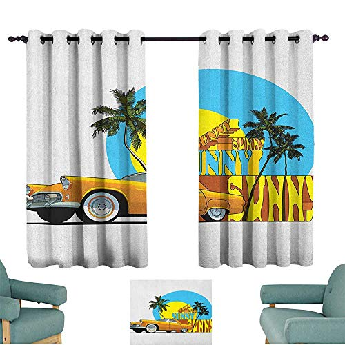 Retro Light luxury high-end curtains Vintage Car in Magic City Miami with Exotic Coconut Trees Sunny Day Beach Home Garden Bedroom Outdoor Indoor Wall Decorations 72