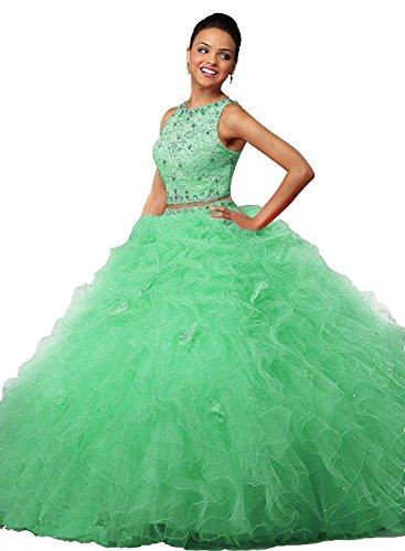 para Verde Vestido mujer Fanciest trapecio qCTzxCEPnw