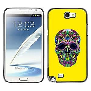 Shell-Star Art & Design plastique dur Coque de protection rigide pour Cas Case pour SAMSUNG Galaxy Note 2 II / N7100 ( Hippie Lsd Weed Yellow Skull Deep )