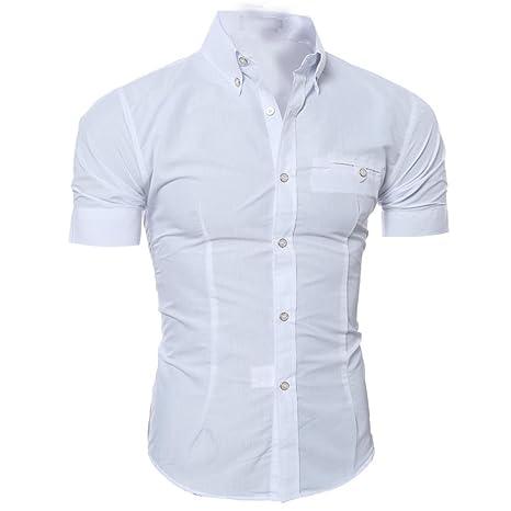 Camiseta Hombres,LMMVP Camisa casual para hombres Slim Fit manga corta Moda Negocio Elegante (M, Blanco)