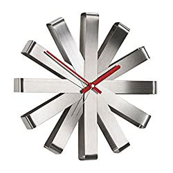 QQB Fashion Modern Ribbon Wall Clock, Stainless Steel Modern Simple Watch Living Room Board Room Creativity Wall Surface Decoration Wall Clock Modern (Color : Silver)
