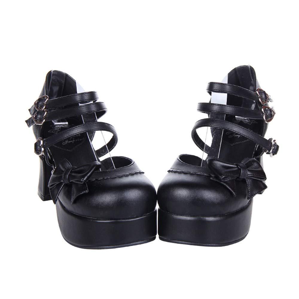 PINGXIANNV Arc À Lacets Multi-Feuilles Chaussures Habillées Chaussures Chaussures Habillées À Talon Épais Princesse Lolita 38 cd4fb4