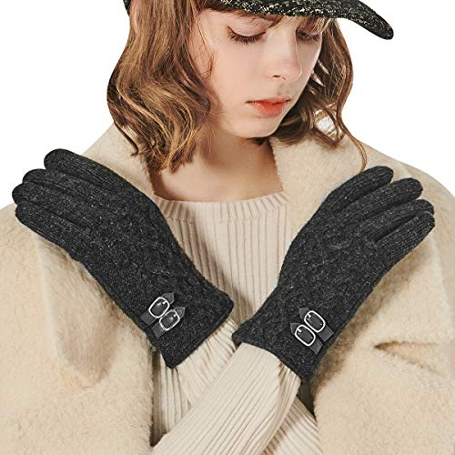 CACUSS Knit Gloves Winter Wool Gloves Women Touchscreen Texting Finger Tips With Warm Fleece Lining