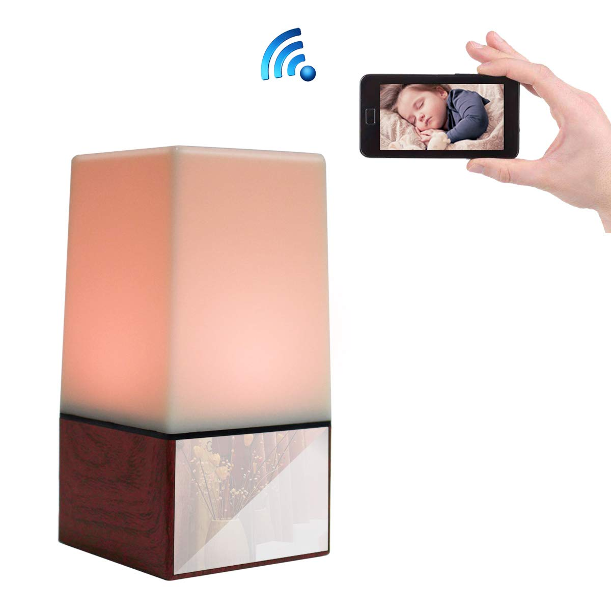 Poetele 1080P Wifi LED Night Light Spy Hidden Camera HD Nanny Cam with Night Vision/Motion Detection/Loop Recording/Real-Time View Security Camera for Home Office Surveillance and Baby Monitor