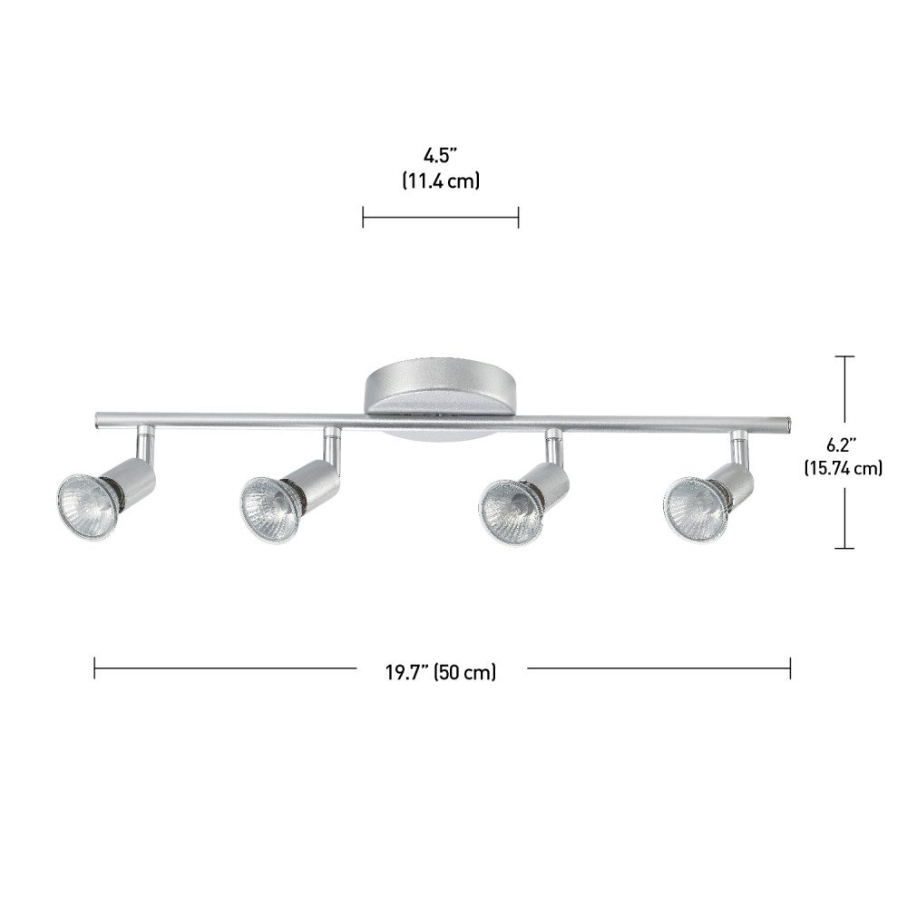 Globe Electric Payton 4-Light Adjustable Track Lighting Kit, Matte Silver Finish, 58932 by Globe Electric (Image #2)