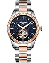 Womens Automatic Mechanical Female Watch Personality Sparkling Stars in the Blue Sky Skeleton Dial (Rose Gold...