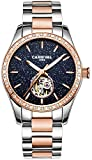 Women's Automatic Mechanical Female Watch Personality Sparkling Stars in the Blue Sky Skeleton Dial (Rose Gold Blue)
