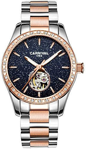 Women's Automatic Mechanical Female Watch Personality Sparkling Stars in the Blue Sky Skeleton Dial (Rose Gold Blue) ()