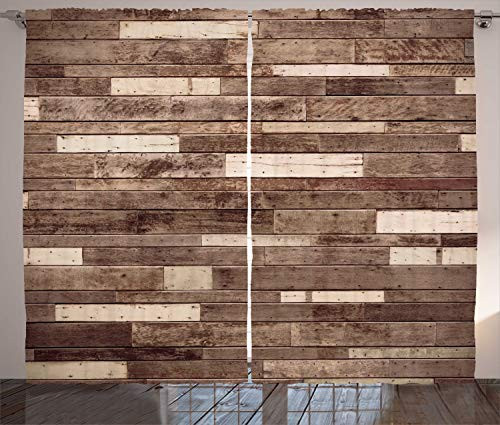 "Ambesonne Wooden Curtains, Wall Floor Textured Planks Panels Picture Art Print Grain Cottage Lodge Hardwood Pattern, Living Room Bedroom Window Drapes 2 Panel Set, 108"" X 84"", Brown Beige"