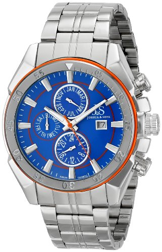 Joshua & Sons Men's JS68OR Silver Multifunction Swiss Quartz Watch with Blue Dial and Silver Bracelet