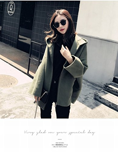 Coat Fashionable Winter Jacket Hooded Coat green Loose Woolen Female Little Dark LD Jacket qvzdqC
