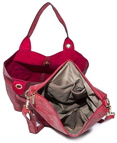 BHBS Bolso 3 en 1 tipo Tote para Dama en Imitación Piel y Pequeño Bolso para Maquillaje 44x38x10 cm (LxAxP) Rosa - rosa