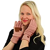 Winter CC Touch Screen Smart Cellphone Finger Tips Warm Soft Knitted Gloves Rose Metallic