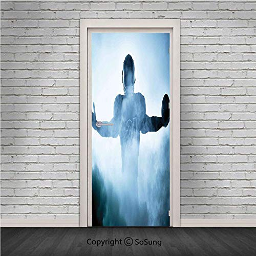 Sport Door Wall Mural Wallpaper Stickers,Heroic Shaped Rugby Player Silhouette Shadow Standing in Fog Playground Global Sports Photo,Vinyl Removable 3D Decals 30.4x78.7/2 Pieces set,for Home Decor Blu