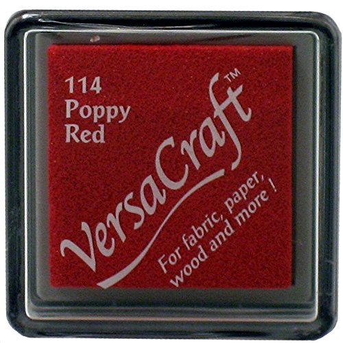 Tsukineko Small Size VersaCraft Fabric and Home Decor Crafting Pigment Inkpad, Poppy Red ()