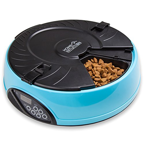 Home Intuition™ 6 Meal Automatic Pet Feeder for Cats, Dogs, House Pets, and Farm Animals (Light Blue)