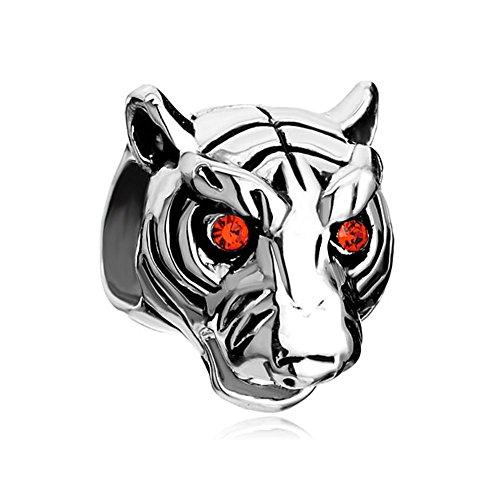 CharmsStory Vivid Head White Tiger Red Beads For Bracelets