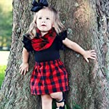 Red and Black Plaid Buffalo Check Flannel Baby Toddler Infinity Scarf