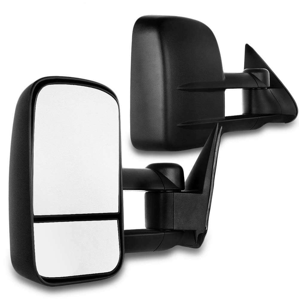 SCITOO Towing Mirrors Fit Chevy GMC Exterior Accessories Mirrors Fit 1999-2007 Chevy/GMC Silverado/Sierra 1500 2500HD 3500HD with Convex Glass Manual Controlling and Telescoping Features by SCITOO