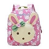 Moolecole Cute Bunny Kids Nursery Canvas Backpack Toddler Boys Girls Preschool Bookbag School Bag Pink