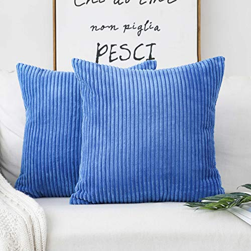 HOME BRILLIANT Throw Pillow Cover Decorative Soft Velvet Corduroy Striped Square Cushion Cover for Bench, Set of 2, 18 x 18 inch (45cm), Blue