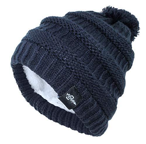 Fear0 Extreme Warm Plush Wool Insulated Dark Blue Knit Cable Pom Pom Skullies Cap Winter Beanie Hat for Women Girl (Dark Blue)