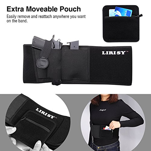Lirisy Neoprene Belly Band Gun Holster, Comfortable Concealed Carry with Magazine Pouch for Men Women Fits Mid Compact Subcompact and Full Size Handguns Pistols Revolvers