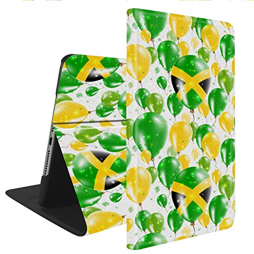 - Compatible with iPad Mini 4, Slim Fit All Round Protect with Auto Sleep/Wake Standable PU Leather case - Flying Rubber Balloons in Colors of The Jamaican Flag.