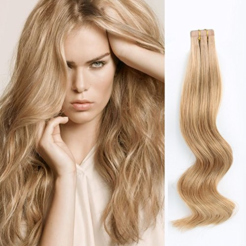 ABH AmazingBeauty Hair Semi-permanent Real Remi Remy Human Tape Hair Extensions 50g 20pcs Skin Weft Tape Attached Invisible Seamless Reusable Dark Dirty Blonde Color 12 18 Inch