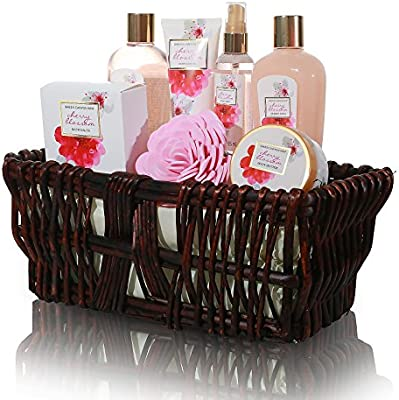 Gifts for Mom, Best Mothers Day Gifts - 8 Pcs Luxury Mothers Day Spa Gift Sets in Handcrafted Wicker Basket with Japanese Cherry Blossom Essential Oils, ...