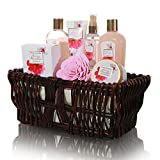 Gifts for Mom, Best Mothers Day Gifts - 8 Pcs Luxury Mothers Day Spa Gift Sets in Handcrafted Wicker Basket with Japanese Cherry Blossom Essential Oils, Gift Baskets For Women, Daughter, Holiday