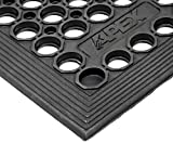NoTrax T14 General Purpose Rubber Tek-Tough Jr Safety/Anti-fatigue Mat, for Wet or Work Areas, 3' Width x 10' Length x 1/2'' Thickness, Black
