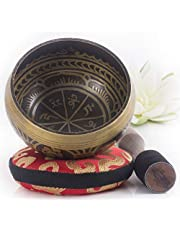 Silent Mind Antique Design Tibetan Singing Bowl Set With Mallet & Silk Cushion ~ For Meditation, Chakra Healing, Prayer ,Yoga, and Mindfulness