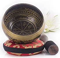 Silent Mind ~ Tibetan Singing Bowl Set ~ Power and Strength Design ~ With Dual Surface Mallet and Silk Cushion ~ Promotes...